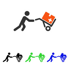 medical shopping cart flat icon vector image
