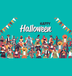 mix race people celebrating happy halloween party vector image