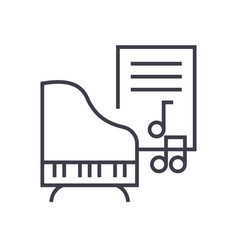 musicpianomusic notes line icon sign vector image vector image