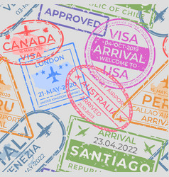 passport stamps pattern seamless page vector image