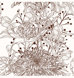 peony flower brown sepia outline seamless pattern vector image