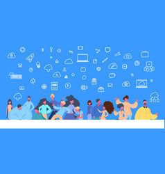 People group standing online data cloud vector