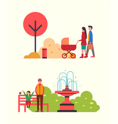 people strolling in autumn park family with pram vector image