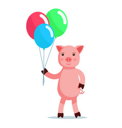 Piglet coming with balls vector