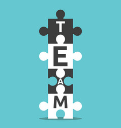 puzzles with team word vector image