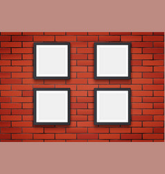 red brick wall with picture frames vector image