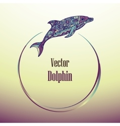 Round frame with dolphin vector image