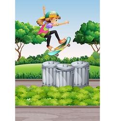 Scene with girl on skateboard in the park vector image