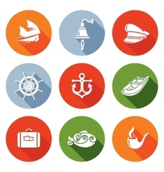 Sea voyage the captain Icons Set vector