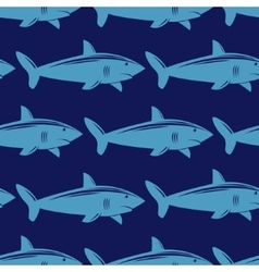 Seamless pattern with shark in water vector image