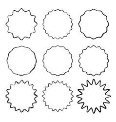 set black wavy grunge contour frames vector image