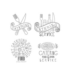 set of 4 monochrome catering service emblems hand vector image