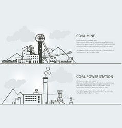 Set of banners with coal mining and power station vector