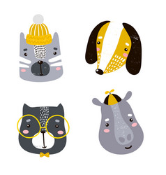 set of four cute animal faces creative animal vector image