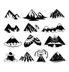 set of mountain peaks on white vector image