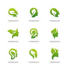 Set of nature brain logo design concept brain vector