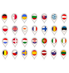 set with eu flags made as map pointers vector image