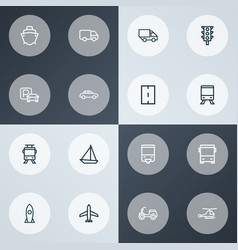shipment icons line style set with parking vector image
