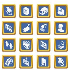 Shop navigation foods icons set blue square vector