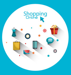 Shopping online set icons vector