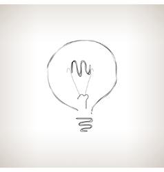 Silhouette lightbulb on a light background vector image