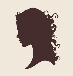 Silhouette of beautiful curly woman vector