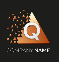 Silver letter q logo symbol in the triangle shape vector