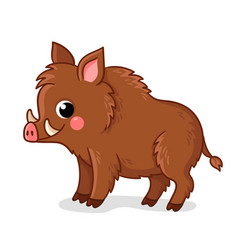Small brown boar stands on a white background vector