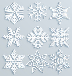 Snow decorations set of paper snowflakes vector