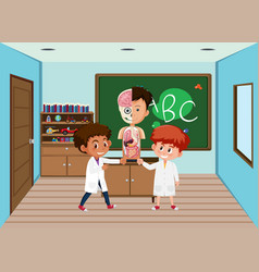 student in science anatomy classroom vector image