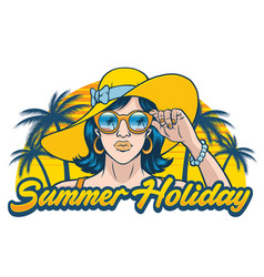 summer holiday design with girl wearing sunglasses vector image