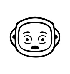 Thin line shocked face icon vector