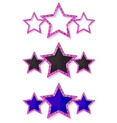 Three gold pink stars vector