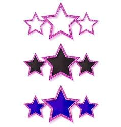 Three gold pink stars vector