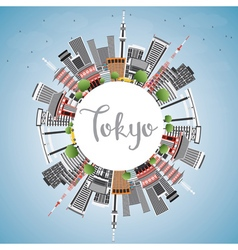 Tokyo Skyline with Gray Buildings Blue Sky vector image