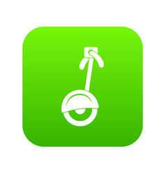unicycle icon digital green vector image