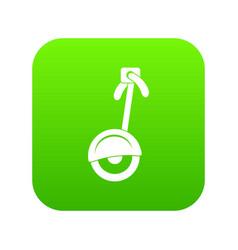 unicycle icon digital green vector image