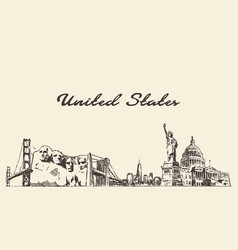 usa skyline vintage engrav hand drawn vector image
