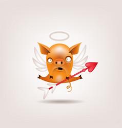 Valentine pig cupid vector