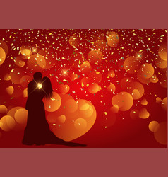 valentines day background with silhouette of vector image