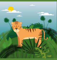 wild in the jungle scene vector image