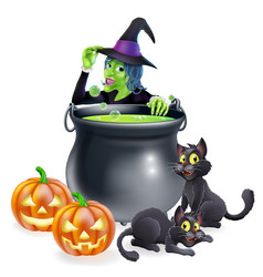 witch cartoon halloween scene vector image