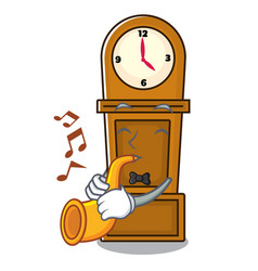 with trumpet grandfather clock mascot cartoon vector image