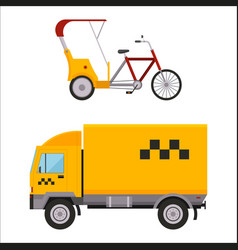 Yellow taxi truck varn rickshaw bike vector