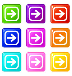 arrow in square set 9 vector image