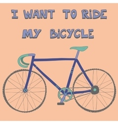 Beautiful poster with cute hand drawn racing bike vector image vector image