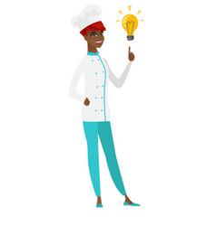 Chef cook pointing at bright idea light bulb vector