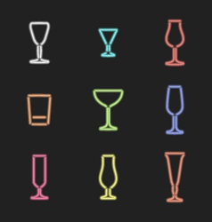 neon light colors various alcohol glasses set vector image vector image