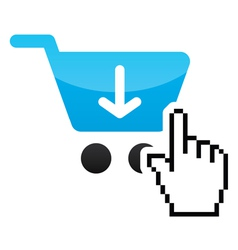 Shopping car glossy icon with cursor hand icon vector image vector image