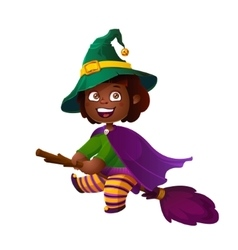 Cute African American Girl Witch on the Broom vector image